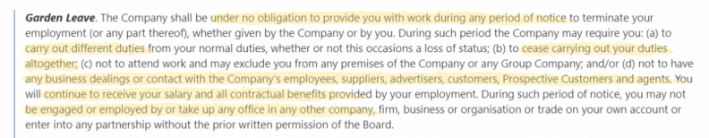 Sample garden leave clause by Law Insider.